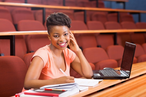beautiful female african college student in lecture room